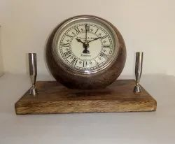 Naturalwood Analog Wooden Clock Pen Holder, Size: 20 Cm, Shape: Round