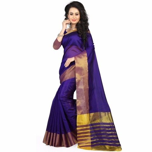 Printed Synthetic Saree, 6.3 m (with blouse piece)