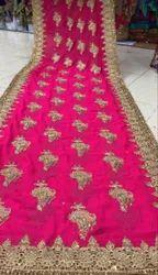 TEX WEAVES INDIA Party Wear Chiffon Machine Embroidery Saree