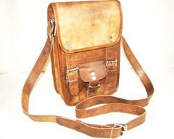 Vertical Leather Messenger Bag