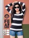 Hosiery Full Sleeve Ladies Black And White Striped T-shirt