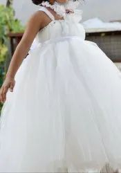 Nia's Heavy White Princess Fully Flared Gown With Headband