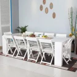 White Wooden Folding Dining Table Set, Wood Folding Dining Room Table And Chairs