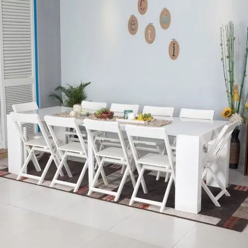 White Wooden Folding Dining Table Set, White And Wood Dining Room Sets