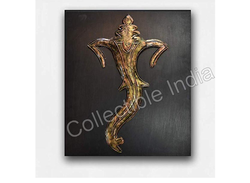 Brown Collectible India Metal MDF Panel Lord Ganesha Wall Mounted