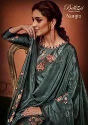 Nargis By Belliza Satin Digital Print With Swarovski Work Salwar Kameez