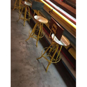 Bar Stool With Backrest Wooden Top