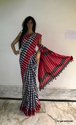Linen Checks Pattern Handmade Printed Handloom Saree