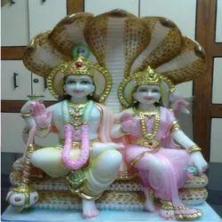 Marble Laxmi and Vishnu Statue