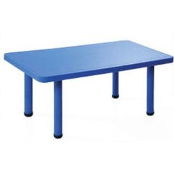 Blue Rectangular Rectangle Table, For Nursery School, 48x24x20 inch