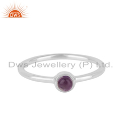 Natural Amethyst Gemstone Designer Fine Sterling Silver Ring Supplier