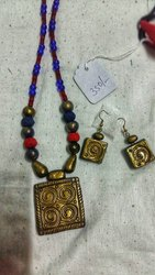 Maya Antique Golden Red Blue Terracotta Jewellery With Fabric Beads
