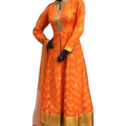 Silk Orange Printed Anarkali Suits