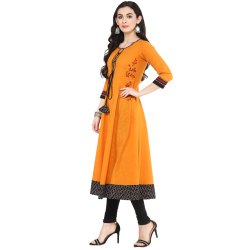 Yash Gallery Women's Cotton Slub Embroidered Anarkali Kurta