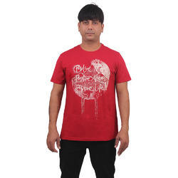 Mens Cotton Round Neck Printed Red T Shirt, Size: S-XL