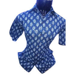 Sanganeri Mens Printed Cotton Shirt
