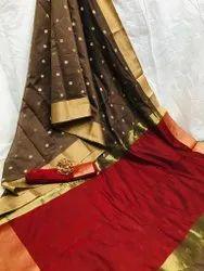 Border Silk Saree, 6.3 Mtr With Blouse Piece