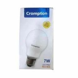 Warm White 85% Energy Saving Crompton 7W LED Bulb, Base Type: E27