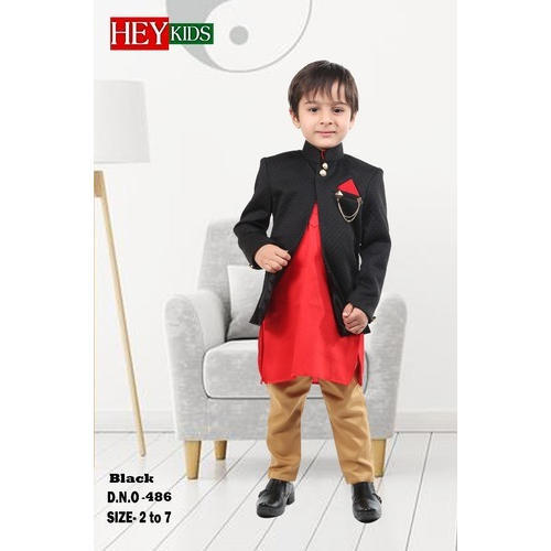 aa9c22cd6221 Black Party Wear Boys Indo Western Suits