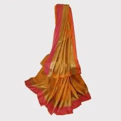 Orange Paan Motive Boota Silk Saree 5.5 m (Separate Blouse Piece)