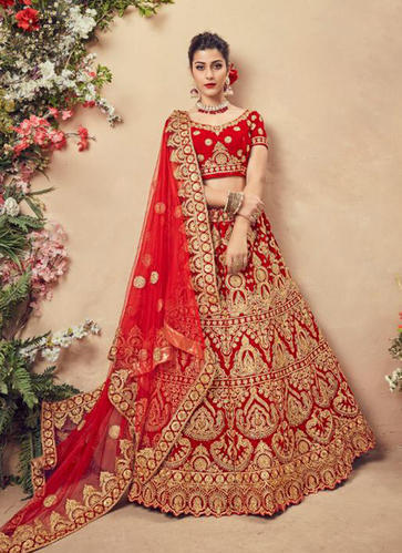 54152a687f Velvet Red Color Bridal Lehenga Choli, Rs 8599 /piece, Kesari ...