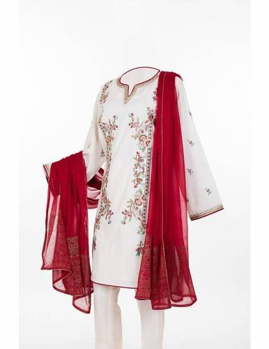 Party Wear White And Red Ladies Suit