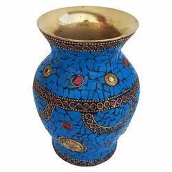 Brass Jar With Stone Work