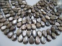 Natural Chocolate Moonstone Plain Smooth Pear Shape Beads
