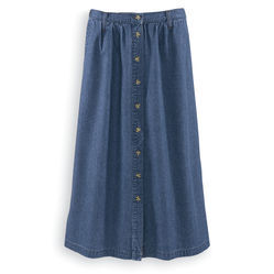 Denim Button-Front Skirt