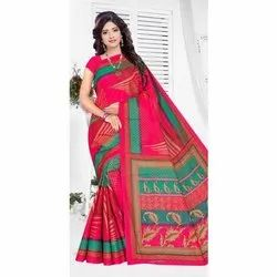 Party Wear Printed Ladies Polyester Cotton Saree, Without blouse piece, 5.5 Meter