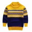 Woolen Regular Wear Kids Round Neck Sweater