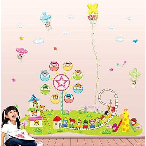 multicolor printed lil town height chart wall sticker for play