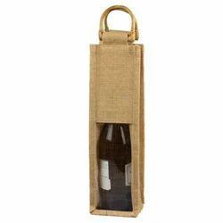 Jute Single Bottle Wine Bag with Cane Handle