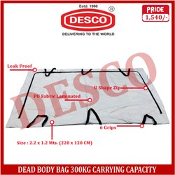 Pu Fabric Laminated Dead Body Bag 300kg Carrying Capacity, For Hospital
