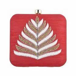 Azzra Designer Maroon Zardosi Work Clutch Handbag