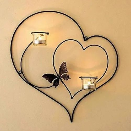 Iron Decorative Double Heart Wall Hanging Sconce