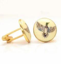 Hand Painted Birds On Enamel Cufflinks In 925 Sterling Silver