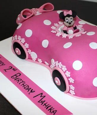 Awesome Mickey Minnie Cake Disney Minnie Mouse Car Shaped Cake Bakery Funny Birthday Cards Online Overcheapnameinfo