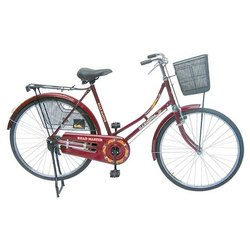 Red And Black Mild Steel Road Master Women Bicycle
