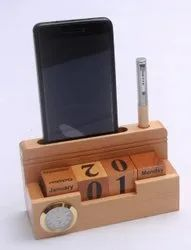 GSM Black Wooden Calendar With Clock And Pen Stand, For Office