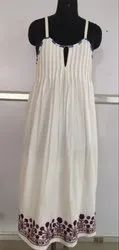 Pleated Long Dress, Embroidery At Bottom