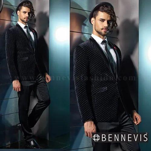 fbf308138 Black Velvet Polka Dotted Men's Suit