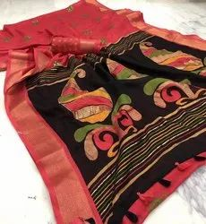 Party Wear Red Saree, With blouse piece