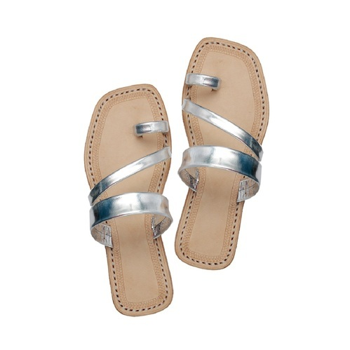 87fba28680a6 Leather Womens Silver Kolhapuri Chappal, Size: 4 To 10, Rs 650 /pair ...
