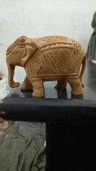 Wooden Down Trunk Elephant Statue