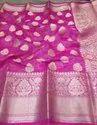 Silk Linen Banarasi Designer Buti Work Saree