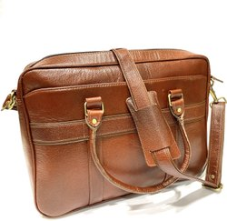 SAFETA BROWN Leather Laptop Bag, Size: 10 X 15 Inch