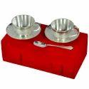 White Brass Tea Cup Set