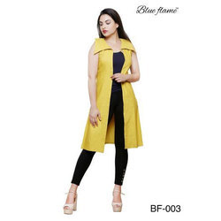 L And XL Plain Ladies Yellow Party Wear Dress