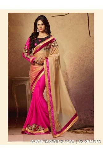1b88a7e0cb672c Georgette Casual Wear & Wedding Wear DESIGNER HALF HALF SAREE WITH PINK  LYCRA FABRIC WITH EMBROID